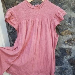 XXL exhilaration high neck smocked blouse